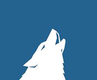Logo d'Arctic Wolf avec un loup blanc hurlant sur un arrière-plan bleu.